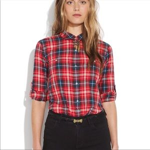 Broadway & Broome Plaid 3/4 Button Down Top